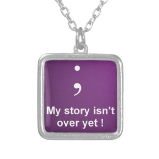 "Semi Colon - ""My Story Isn't over yet""  Purple Silver Plated Necklace"