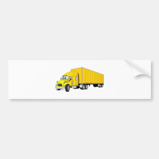 Semi dibujo animado amarillo del remolque del cami etiqueta de parachoque