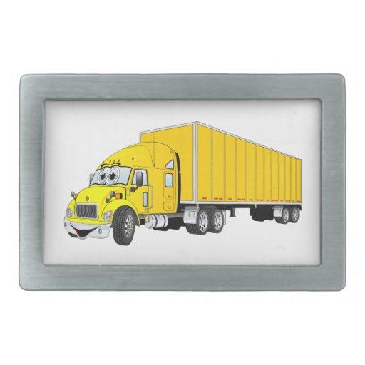 Semi dibujo animado amarillo del remolque del cami hebillas de cinturón rectangulares