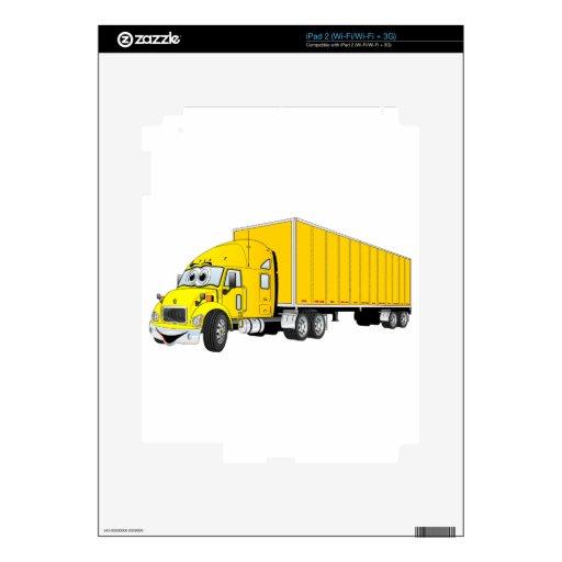 Semi dibujo animado amarillo del remolque del cami skins para iPad 2