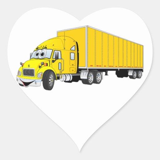 Semi dibujo animado amarillo del remolque del cami pegatinas de corazon personalizadas