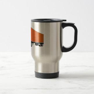 Semi dibujo animado anaranjado blanco del remolque tazas