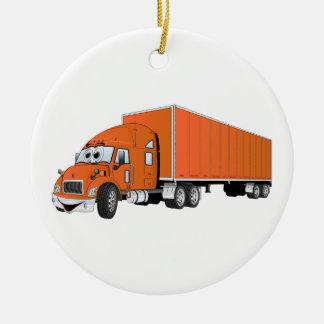 Semi dibujo animado anaranjado del remolque del adorno navideño redondo de cerámica