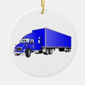 Semi dibujo animado azul del remolque del camión adorno navideño redondo de cerámica