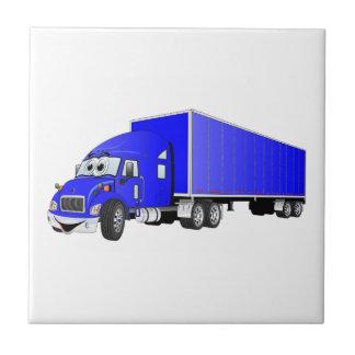 Semi dibujo animado azul del remolque del camión azulejo cuadrado pequeño