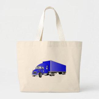 Semi dibujo animado azul del remolque del camión bolsa