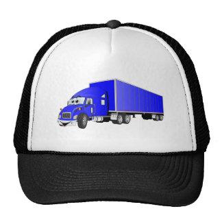 Semi dibujo animado azul del remolque del camión gorra