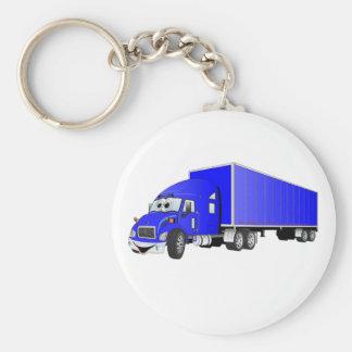 Semi dibujo animado azul del remolque del camión llavero redondo tipo pin