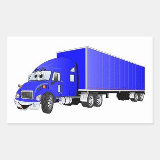 Semi dibujo animado azul del remolque del camión pegatina rectangular