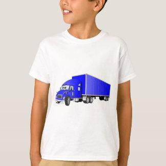 Semi dibujo animado azul del remolque del camión playera