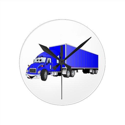 Semi dibujo animado azul del remolque del camión relojes de pared