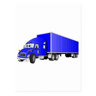 Semi dibujo animado azul del remolque del camión postal