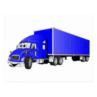 Semi dibujo animado azul del remolque del camión tarjetas postales