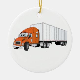 Semi dibujo animado blanco anaranjado del remolque adorno navideño redondo de cerámica