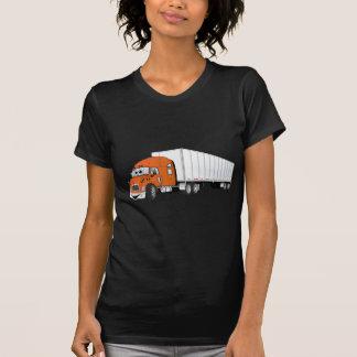 Semi dibujo animado blanco anaranjado del remolque camiseta
