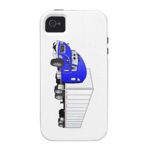 Semi dibujo animado blanco azul del remolque del c vibe iPhone 4 fundas