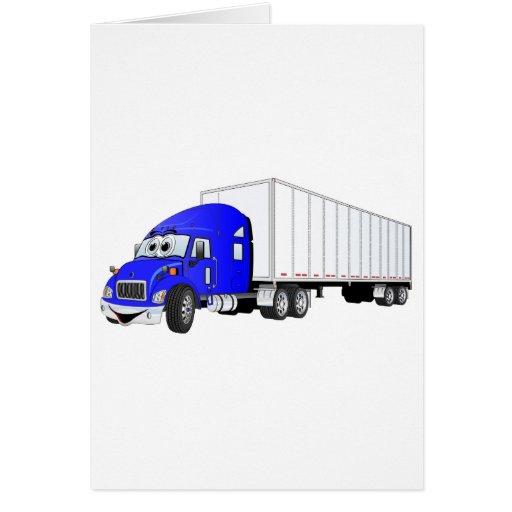 Semi dibujo animado blanco azul del remolque del c tarjeta de felicitación
