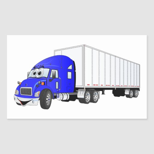 Semi dibujo animado blanco azul del remolque del pegatina rectangular