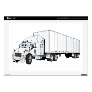 Semi dibujo animado blanco del remolque del camión 43,2cm portátil calcomanía