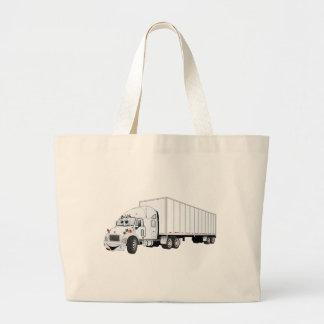 Semi dibujo animado blanco del remolque del camión bolsas de mano