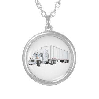 Semi dibujo animado blanco del remolque del camión colgante redondo