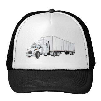 Semi dibujo animado blanco del remolque del camión gorras