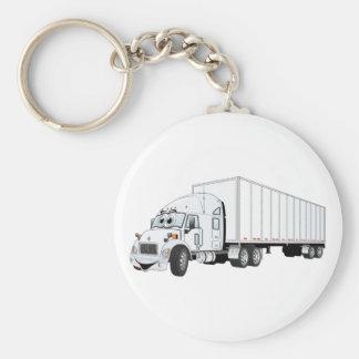 Semi dibujo animado blanco del remolque del camión llavero redondo tipo pin