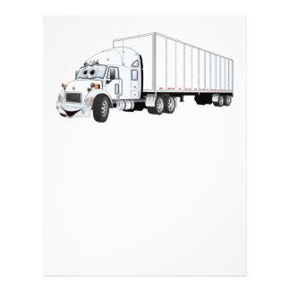 Semi dibujo animado blanco del remolque del camión membretes personalizados