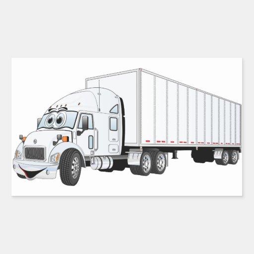 Semi dibujo animado blanco del remolque del camión rectangular pegatina