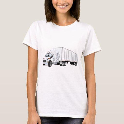 Semi dibujo animado blanco del remolque del camión playera