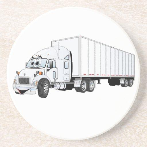 Semi dibujo animado blanco del remolque del camión posavasos para bebidas