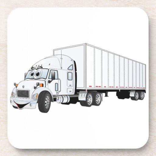 Semi dibujo animado blanco del remolque del camión posavaso