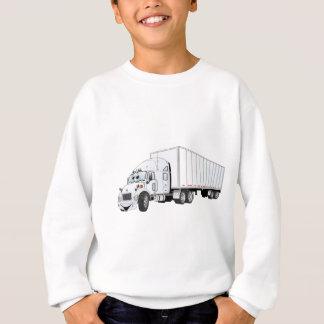 Semi dibujo animado blanco del remolque del camión sudadera