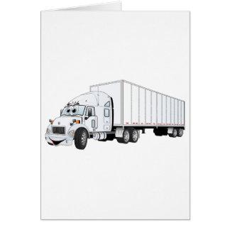 Semi dibujo animado blanco del remolque del camión tarjeta de felicitación