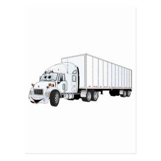 Semi dibujo animado blanco del remolque del camión tarjeta postal