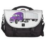 Semi dibujo animado blanco púrpura del remolque de bolsa de ordenador