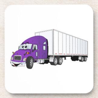 Semi dibujo animado blanco púrpura del remolque de posavaso