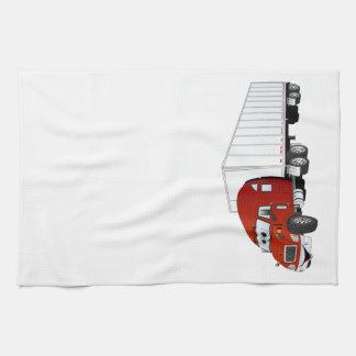 Semi dibujo animado blanco rojo del remolque del c toalla de cocina