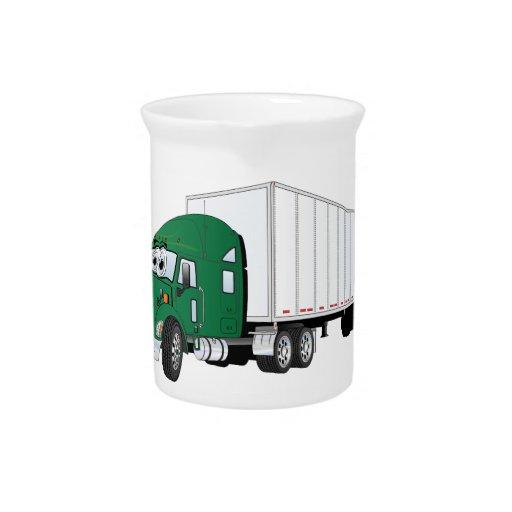 Semi dibujo animado blanco verde del remolque del  jarras