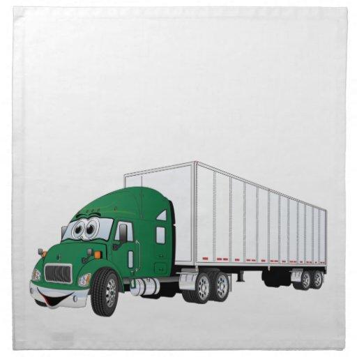Semi dibujo animado blanco verde del remolque del  servilleta imprimida