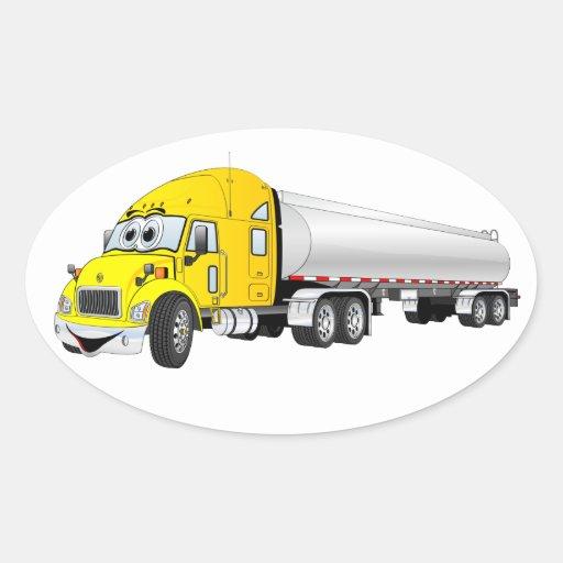 Semi dibujo animado de plata amarillo del remolque pegatina ovalada