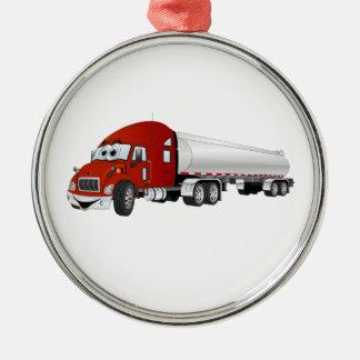 Semi dibujo animado de plata rojo del remolque del ornamento para arbol de navidad