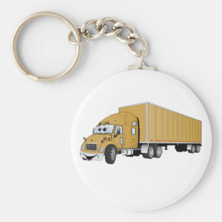 Semi dibujo animado del remolque del oro del camió llavero redondo tipo pin