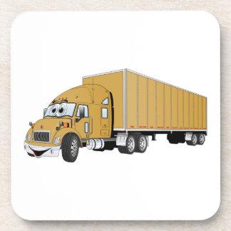 Semi dibujo animado del remolque del oro del camió posavasos de bebidas