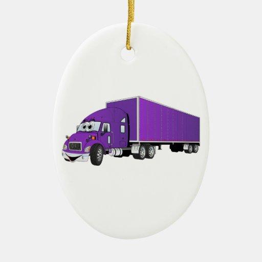 Semi dibujo animado púrpura del remolque del adorno navideño ovalado de cerámica