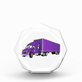 Semi dibujo animado púrpura del remolque del camió
