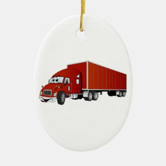Semi dibujo animado rojo del remolque del camión adorno navideño ovalado de cerámica