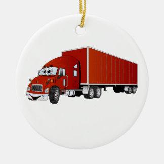 Semi dibujo animado rojo del remolque del camión adorno navideño redondo de cerámica