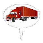 Semi dibujo animado rojo del remolque del camión figuras de tarta