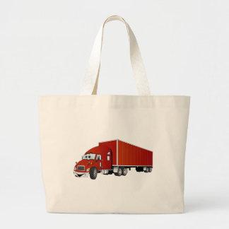 Semi dibujo animado rojo del remolque del camión bolsa de mano